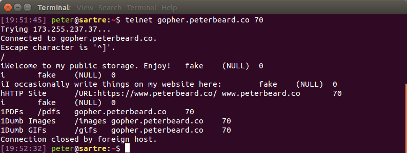 Gopher protocol over a Telnet session.